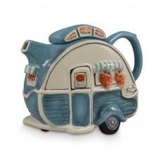 Blue Retro Caravan Teapot